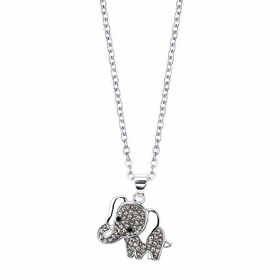 Sparkle Allure Gray Crystal 18 Inch Cable Round Pendant Necklace