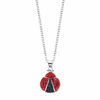 Sparkle Allure Womens Red Silver Over Brass Pendant Necklace
