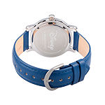 Disney Minnie Mouse Womens Blue Leather Strap Watch-Wds000255