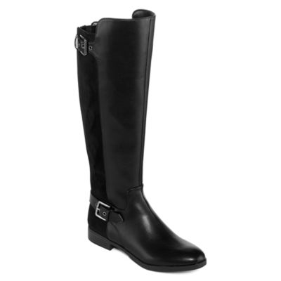 Liz Claiborne Womens Dallas Riding Boots Flat Heel Zip