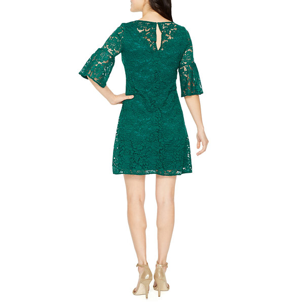 Danny & Nicole 3/4 Sleeve Lace Trapeze Dress