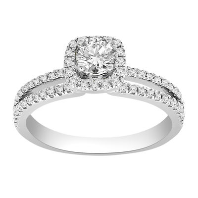 Womens 3/4 CT. T.W. Genuine White Diamond 14K Gold Diamond Engagement Ring