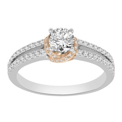Womens 7/8 CT. T.W. Genuine White Diamond 14K Gold Diamond Engagement Ring
