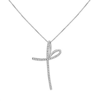 Womens 1/3 CT. T.W. Genuine White Diamond 10K Gold Cross Pendant Necklace