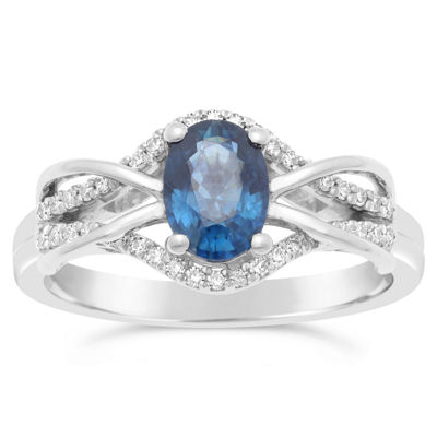 Womens 1/6 CT. T.W. Genuine Blue Sapphire 10K Gold Oval Cocktail Ring