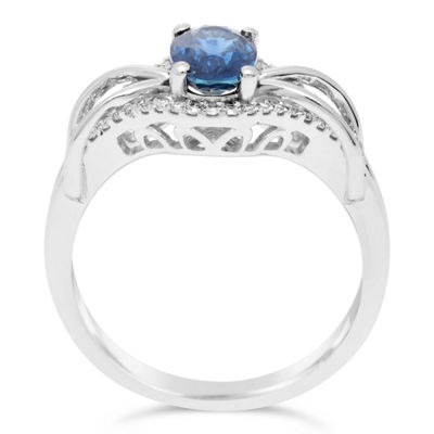Womens 1/6 CT. T.W. Blue Sapphire 10K Gold Cocktail Ring