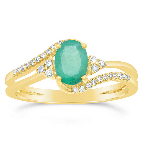 Womens 1/8 CT. T.W. Genuine Green Emerald 10K Gold Oval Cocktail Ring