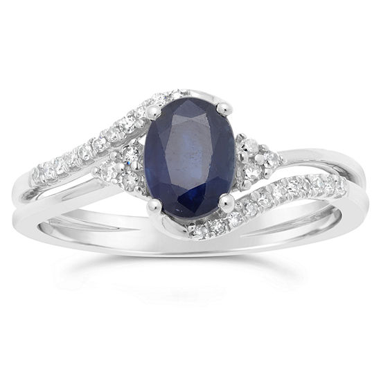 Womens 1 8 Ct Tw Genuine Blue Sapphire 10k Gold Oval Cocktail Ring