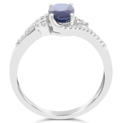 Womens 1/8 CT. T.W. Genuine Blue Sapphire 10K Gold Oval Cocktail Ring