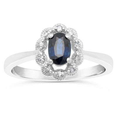 Womens Diamond Accent Genuine Blue Sapphire Sterling Silver Flower Cocktail Ring