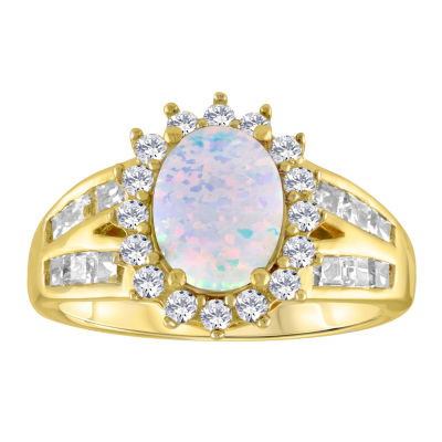 Womens Lab Created White Opal Gold Over Silver Cocktail Ring