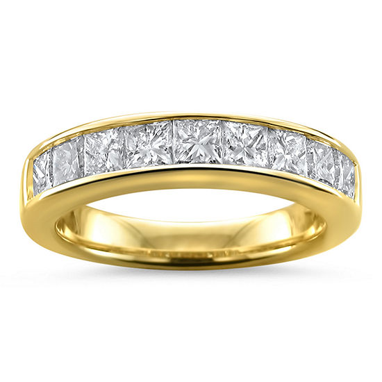 Womens 4MM 1 1/2 CT. T.W. Genuine White Diamond 14K Gold Wedding Band