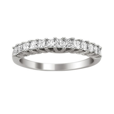 Womens 2MM 3/4 CT. T.W. Genuine White Diamond 14K Gold Wedding Band