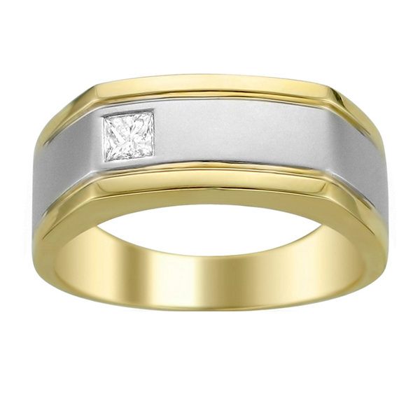 Mens 1/5 CT. T.W. Genuine White Diamond 14K Gold Wedding Band