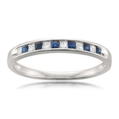 Womens 1/4 CT. T.W. Genuine White Diamond & Genuine Sapphire 14K Gold Wedding Band