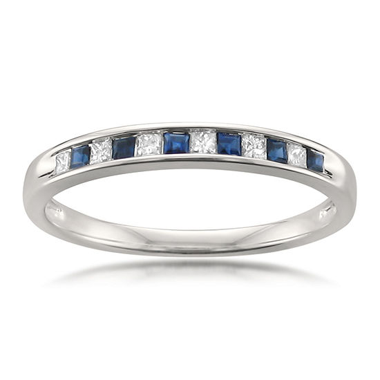 Womens 1/4 CT. T.W. Genuine White Diamond & Genuine Sapphire 14K Gold Wedding Band