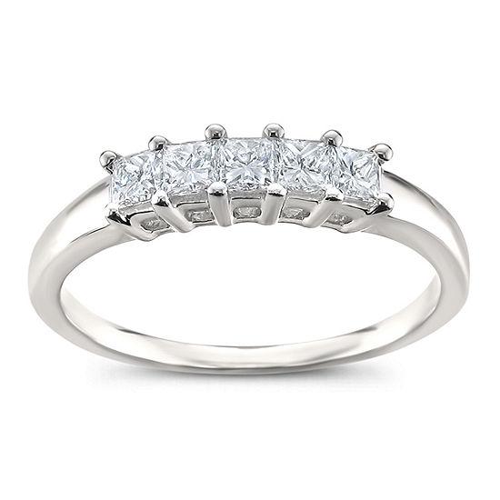 Womens 2.5MM 1/2 CT. T.W. Genuine White Diamond Platinum Wedding Band