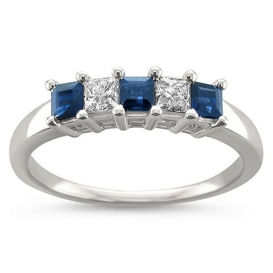 Womens 5/8 CT. T.W. Genuine White Diamond & Genuine Sapphire 14K Gold Wedding Band