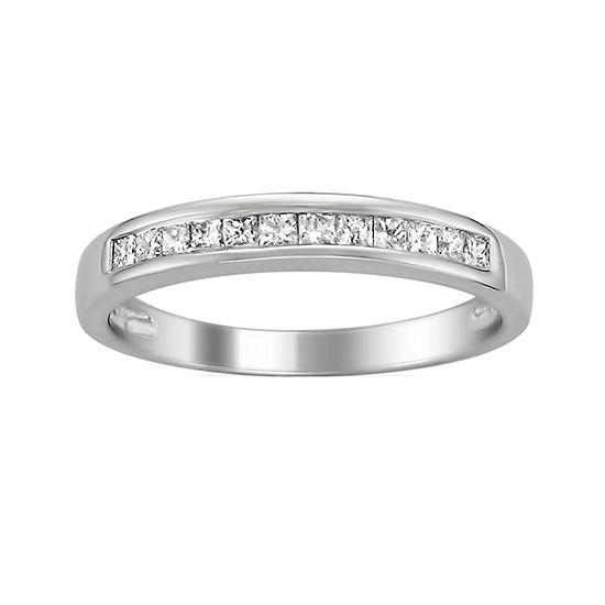 Womens 2MM 1/3 CT. T.W. Genuine White Diamond 14K Gold Wedding Band