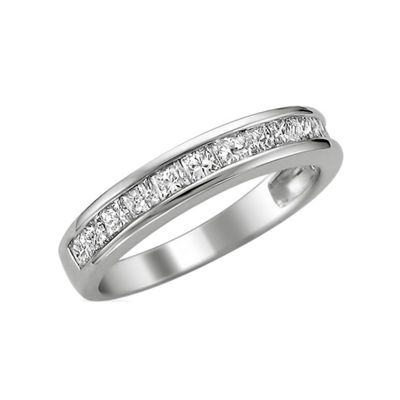 Womens 2.5MM 3/4 CT. T.W. Genuine White Diamond 14K Gold Wedding Band
