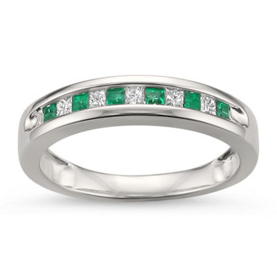 Womens 1/4 CT. T.W. Genuine White Diamond & Genuine Emerald 14K Gold Wedding Band