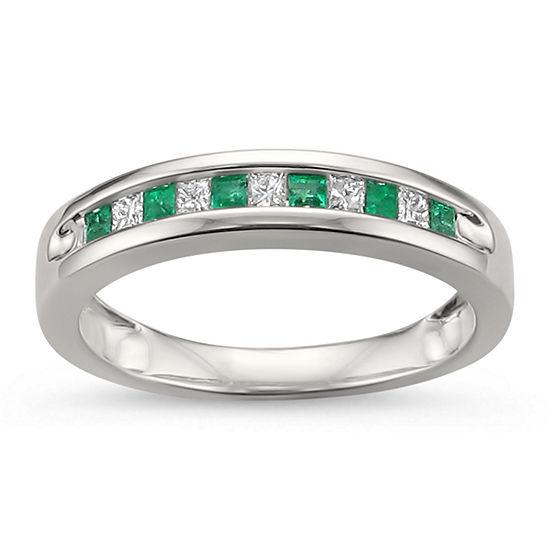 Womens 1/4 CT. T.W. Genuine White Diamond & Genuine Emerald 14K Gold Wedding Band