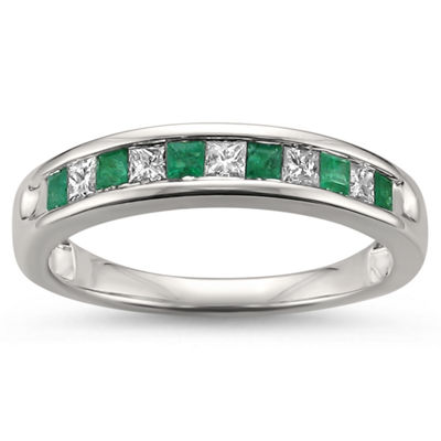 Womens 1/2 CT. T.W. Genuine White Diamond & Genuine Emerald 14K Gold Wedding Band