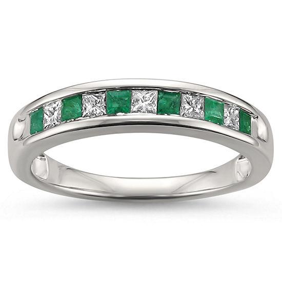 Womens 1 2 Ct Tw Genuine White Diamond Genuine Emerald 14k Gold Wedding Band