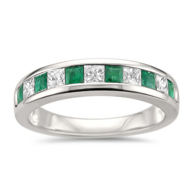 Womens 1 CT. T.W. Genuine White Diamond & Genuine Emerald 14K Gold Wedding Band