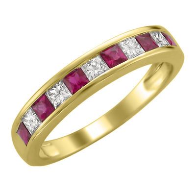 Womens 1 CT. T.W. Genuine White Diamond & Lead-Glass Filled Ruby 14K Gold Wedding Band