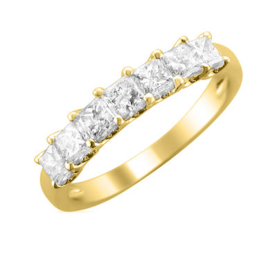 Womens 2MM 1 CT. T.W. Genuine White Diamond 14K Gold Wedding Band