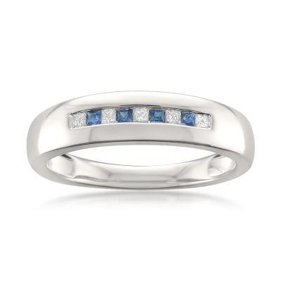Mens 1/4 CT. T.W. Genuine White Diamond & Genuine Sapphire 14K Gold Wedding Band