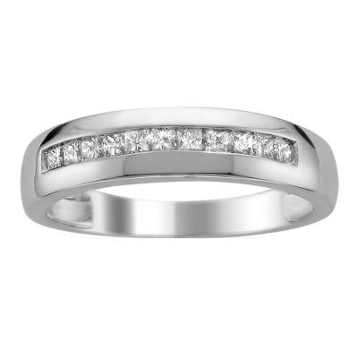 Mens 1/2 CT. T.W. White Diamond 14K Gold Wedding Band