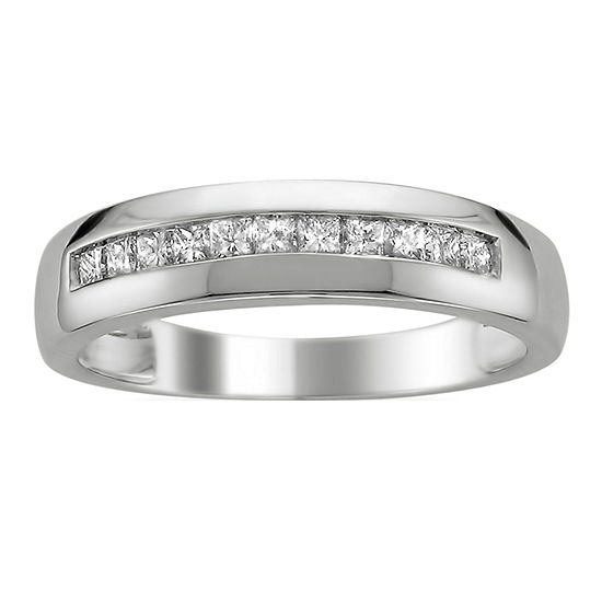 Mens 3MM 1/2 CT. T.W. Genuine White Diamond 14K Gold Wedding Band