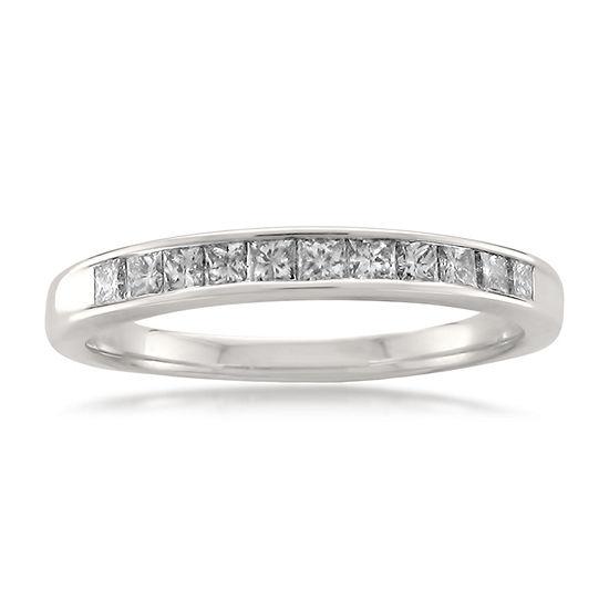 Womens 2MM 1/2 CT. T.W. Genuine White Diamond 14K Gold Wedding Band