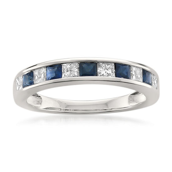Womens 3/4 CT. T.W. Genuine White Diamond & Genuine Sapphire 14K Gold Wedding Band