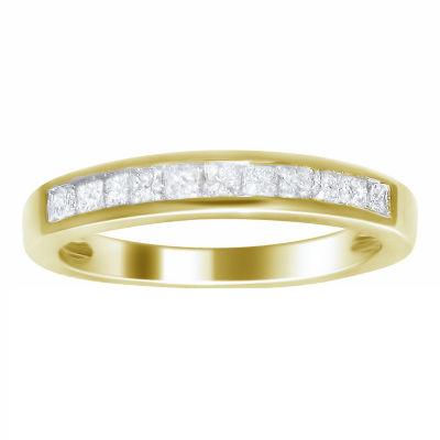 Womens 2MM 1/2 CT. T.W. Genuines White Diamond 14K Gold Wedding Band