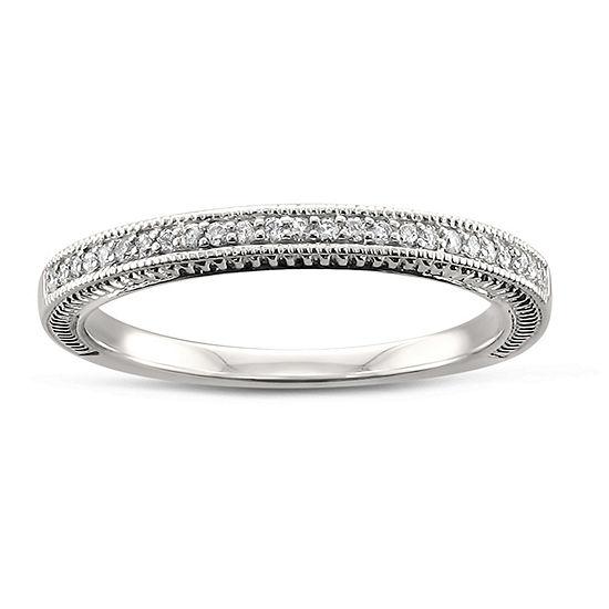 Womens 2MM 1/8 CT. T.W. Genuine White Diamond 14K Gold Wedding Band