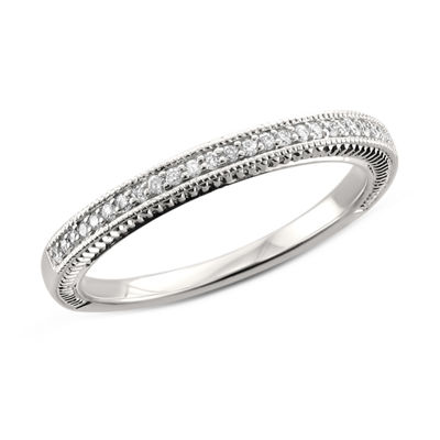 Womens 2mm 1/8 CT. T.W. Genuine White Diamond 14K Gold Band