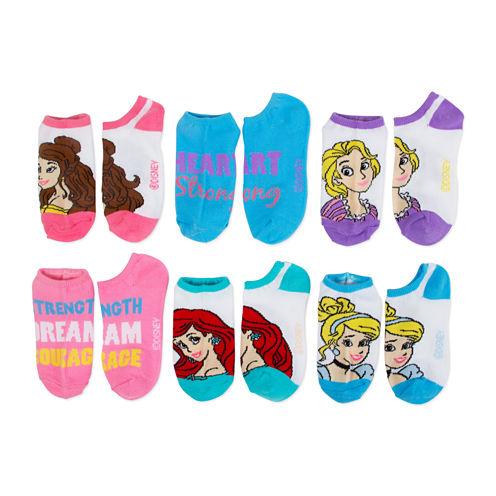 Girls 6 Pair No Show Socks-Big Kid