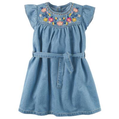 Carter's Short Sleeve Flutter Sleeve A-Line Dress - Preschool Girls