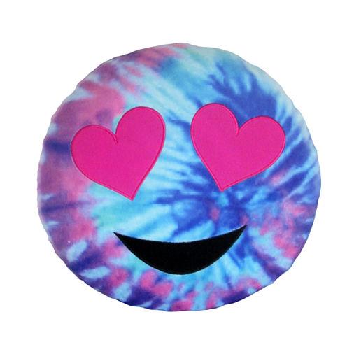 Kids Preferred Emoji Tie Dye Heart Large Pillow Plush Doll