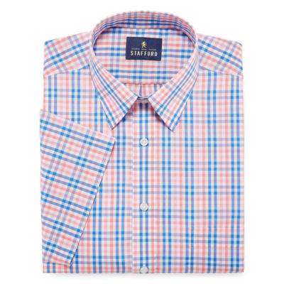 Stafford Travel Easy Care Short Sleeve Broadcloth Checked Dress Shirt