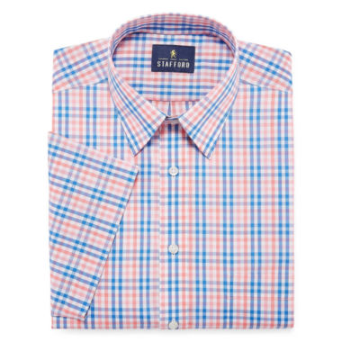 Stafford Travel Easy-Care Short Sleeve Broadcloth Checked Dress Shirt