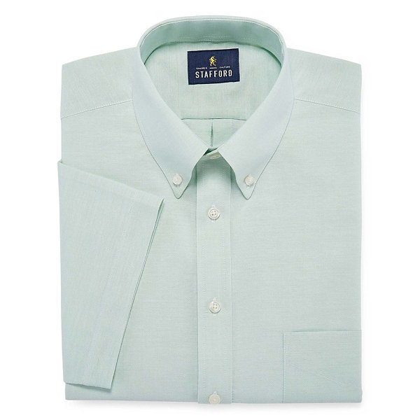 Stafford travel wrinkle free oxford short sleeve dress for Stafford dress shirts fitted