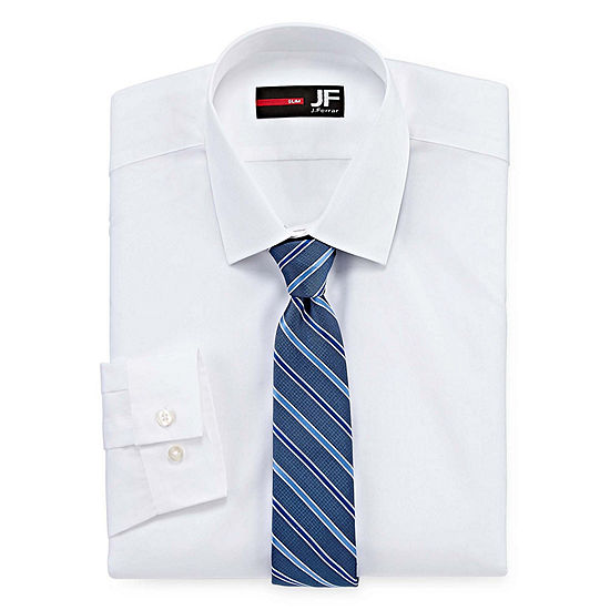 Jf J. Ferrar Easy-Care Slim Fit Long Sleeve Shirtand Tie Set