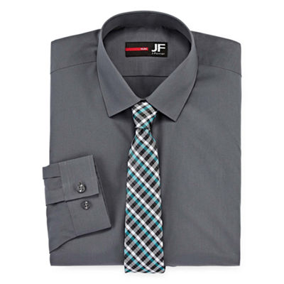 JF J. Ferrar Easy-care Slim Fit Long Sleeve Shirt And Tie Set