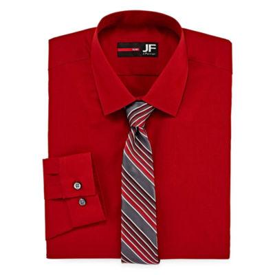 Jf J. Ferrar® Easy-Care Slim Fit Long Sleeve Shirt and Tie Set