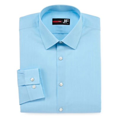 JF J.Ferrar Easy-Care Stretch Long Sleeve Broadcloth Dress Shirt - Slim