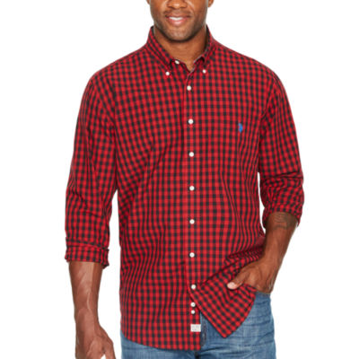 Us Polo Assn. Long Sleeve Checked Button-Front Shirt-Big and Tall